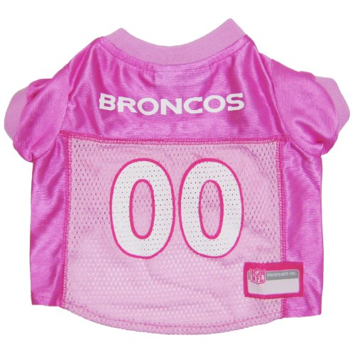 Pets First NFL Denver Broncos Jersey, X-Small, Pink