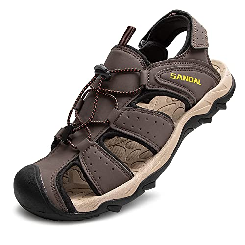 LARGERED Mens Wide Fit Sandals,Closed Toe Outdoor & Sports Sandals for...