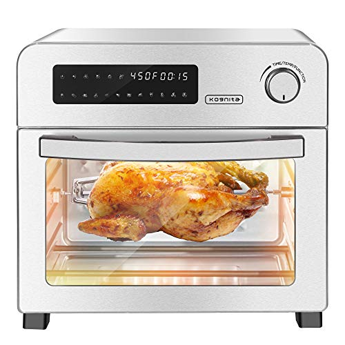 Air Fryer Toaster Oven - 10-in-1 Convection Oven Countertop1700W Hot Air Fryer Oven with Rotisserie and Racks243 QT Large Air Fryer for FamilyStainless Steel Body LED Digital Touchscreen