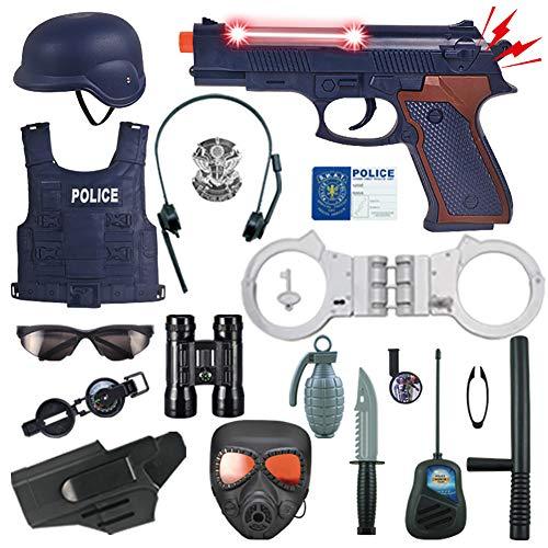 Disfraz Policia Nio, Equipo De Casco De Armadura De Arma Elctrica para Nios, El Mejor Juego Interactivo para Padres E Hijos