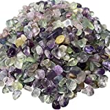 juexiyarticle Natural Fluorite Tumbled Chips Stone Crushed Crystal,Polished Reiki Healing Crystals Gemstones for Home Decoration Aquarium,1 lb