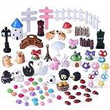 Kuuqa 81 pièces kit ornement miniature pour Jardin Dollhouse Décor