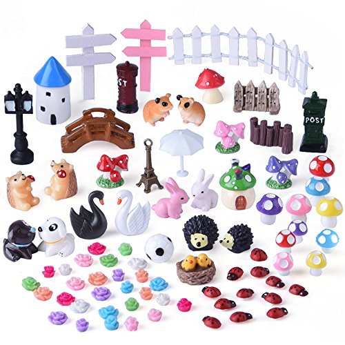 KUUQA 81 Pieces Miniature Fairy Garden Accessories Ornaments Kit for Fairy Garden Décor