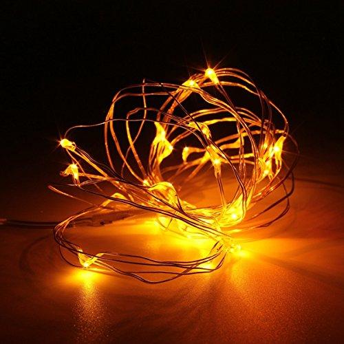 MASUNN 10M 100 LED Silver Ffée Chaîne De Lumière Batterie Alimentée Imperméable À l'eau De Noël Decor Party-Jaune