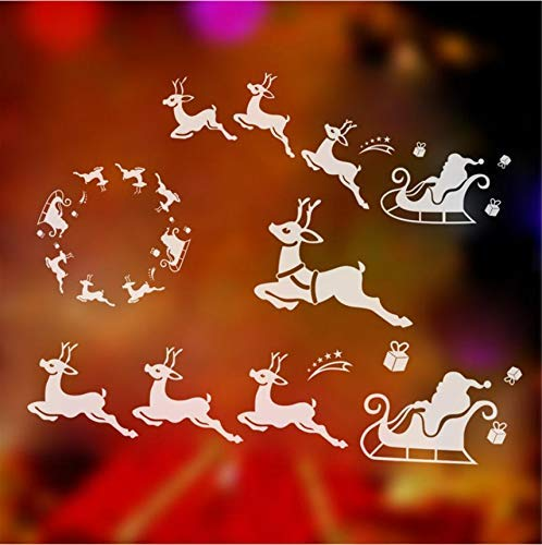 Window Decor Reindeer Sled Christmas Wall Stickers for Home Xmas Decoration New Year Gifts Living Room Glass Vinyl DIY Art Decal