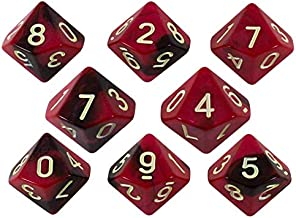 Paladin Roleplaying Red and Brown Dice - 8 D10 Set - 'Blood God'