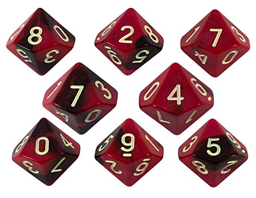 Paladin Roleplaying Red and Brown Dice - 8 D10 Set -