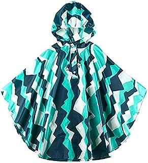 Raincoat Raincoat Kids Hooded Backpack Rain Ponchos Jacket Raincoats Light Weight Easy Carry Rain Suit Unisex (Color : Teal+Aqua, Size : L)