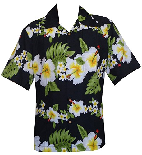 Alvish Hawaii-Hemd für Herren  Hibiskus  Blumendruck  Aloha  Party  Strand  Camp Gr. L  Schwarz   Bekleidung > Hemden > Hawaiihemden   Alvish