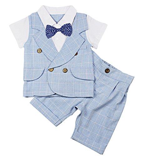 Lukis Baby Jungen Strampler Smoking Kleinkind Gentleman Anzug Taufkleidung Blau Größe 80