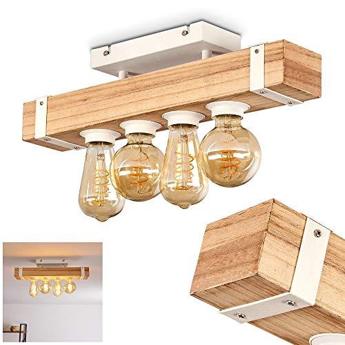 Plafón de techo de metal y madera en color blanco natural, 4 focos, 4 casquillos E27 máx. 30 Watios con vigas de madera estilo retro vintage, apto para LED...