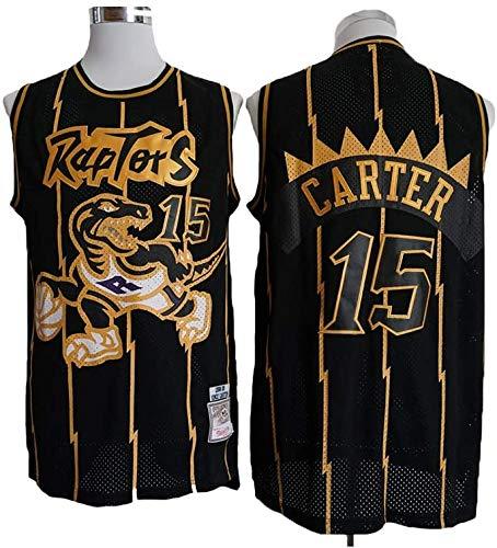 LLZYL NBA Toronto Jersey di Pallacanestro Maschile Raptors # 15 - Vince Carter, Retro Respirabile Freddo Ricamato Maglie, Uniforme all-Star Unisex Basketball Fan,A,S:170cm/50~65kg