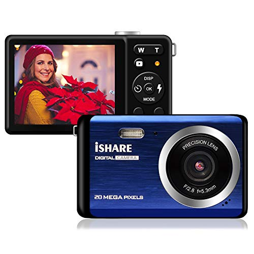 Mini Digital Camera for Photography with 2.8 Inch LCD 8X Digital Zoom, 20MP HD Digital Camera Rechargeable Point and Shoot Camera, Indoor Outdoor for Kids/Seniors/Learner(Blue)