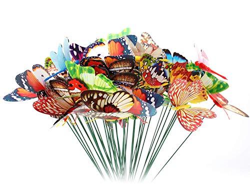 Lawei 42 Stück Garten Schmetterlinge und 8 Libellen Erdspieße Garten Deko für Hof Terrasse Party Pflanzendekoration, insgesamt 50 Stück