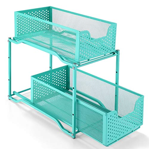 Simple Trending Stackable 2-Tier Under Sink Cabinet Organizer with Sliding Storage Drawer, Blue