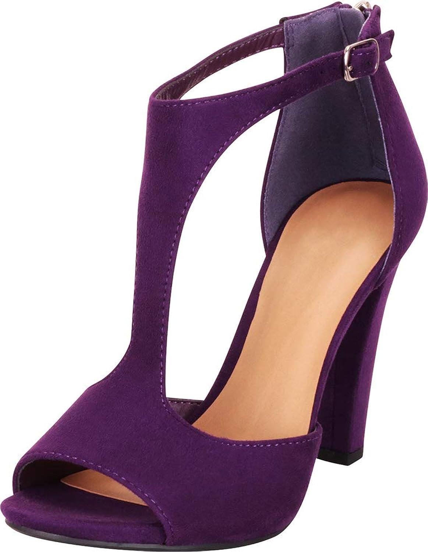 Cambridge Select Women's Open Toe T-Strap Chunky High Heel Sandal