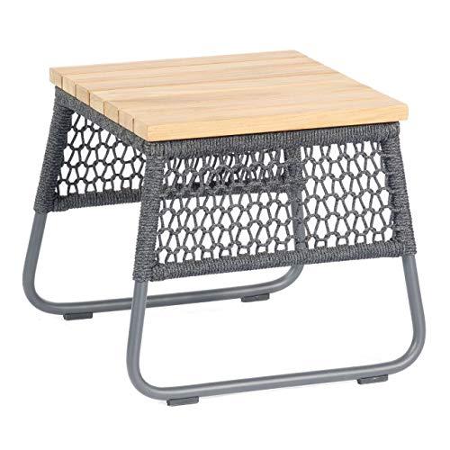Sonnenpartner Lounge-Tisch Poison 45x45 cm Teak/Aluminium mit Polyrope dunkelgrau Loungetisch Beistelltisch