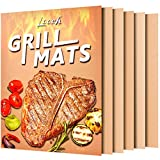 Looch Copper Grill Mat Set of 5- 100% Non-stick BBQ Grill & Baking Mats - FDA-Approved, PFOA Free,...