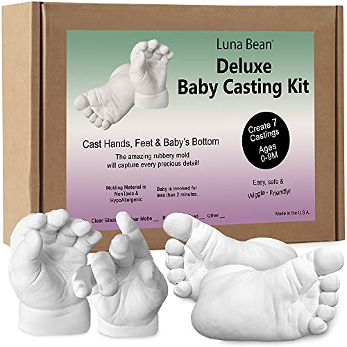 Luna Bean Deluxe Baby Keepsake Hand Casting Kit - Plaster Hand Mold Casting Kit for Infant Hand & Foot Mold - Baby Casting Kit for First Birthday, Christmas & Newborn Gifts - (Pearl Sealant)