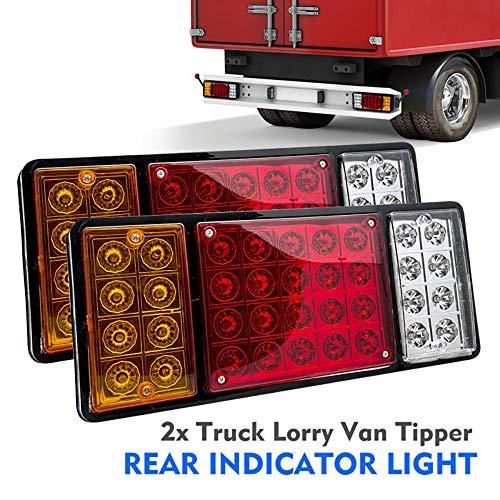 Maso - 2 fanali posteriori a 36 LED, 12 V, luce di arresto con indicatore di direzione e retromarcia, impermeabili, per auto, camion, furgoni, autocarri, rimorchi e roulotte