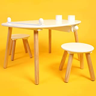 Flying Olly Kids Desk& Chairs Set with a Space-Saving Paper Roll, and 2 Pens Cups, Ideal for Homeschool, Kids Art Activiti...