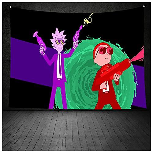 ZHMIAO Tapiz de pared de Rick und Morty, diseño de dibujos animados, para dormitorio, fiesta, decoración, regalos, verde, 150 x 200 cm
