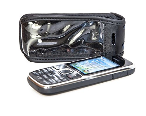 caseroxx Ledertasche mit Gürtelclip für Nokia C2-01 aus Echtleder, Handyhülle für Gürtel (mit Sichtfenster aus schmutzabweisender Klarsichtfolie in schwarz)