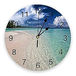 Silent Non-Ticking Wall Clocks Beautiful Bay Scenery Quality Quartz Battery Operated Wall Clocks with Arabic Numerals,Round Wall Clocks Decor 9.8 inch