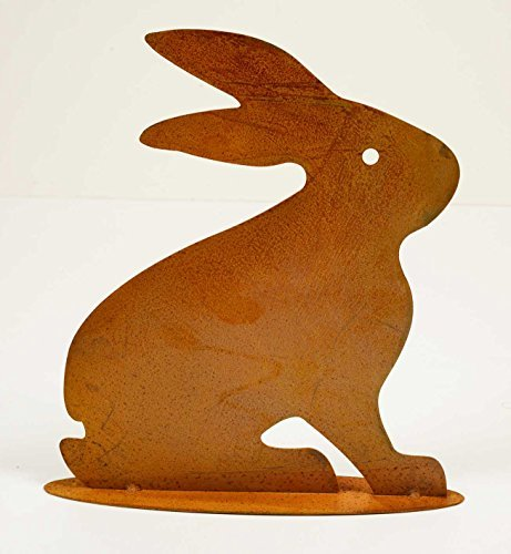 déco lapin assis couleur rouille, hauteur x largeur: 48x42cmcm, sur plaque de base, métal, 72618