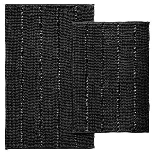 Tayis Black Bathroom Rugs Set, 2 Piece Bath Rugs Absorbent Plush Chenille Bath Mats Striped for Bathroom Shower Rugs, Kitchen Mats, 32' x 20' + 17' x 24'