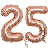 2 Globos Número 25 Años, Number 25 Globo Chica de oro rosa, 40'Figuras de globos con globo de lámina de helio inflable, Globo gigante para la decoración de la fiesta de cumpleaños, Prom (xxxl 100cm)