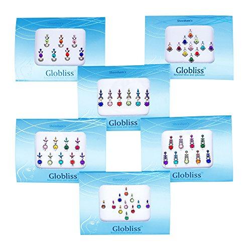 Globliss - tatuaggi temporanei bindi adesivi, 6 confezioni, tipo terzo occhio, piccoli e grandi, colorati, per la fronte