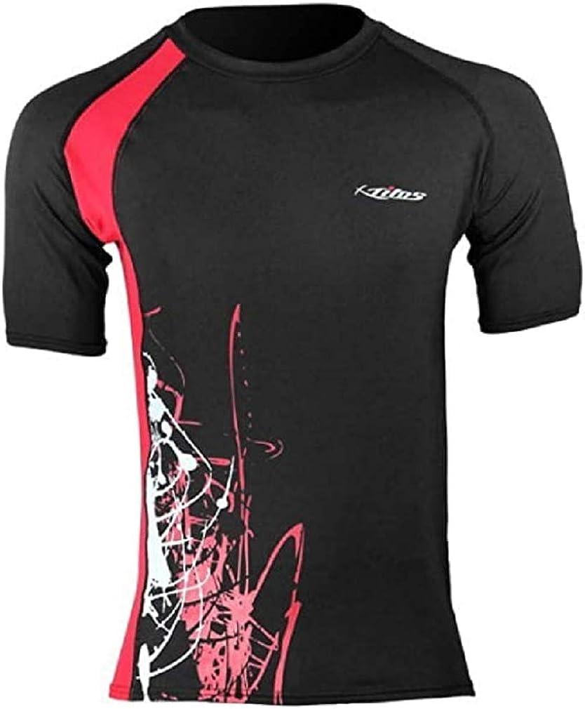 Tilos New Men's 6oz Anti-UV Short Sleeve Rash Guard - Black/Red (Size 2X-Large)