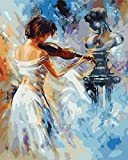 asasI9 Painting by Numbers for Kids Children's Room Decoration Paint Paint by Numbers Woman Playing The Violin Painting Sets 40X50cm Frameless
