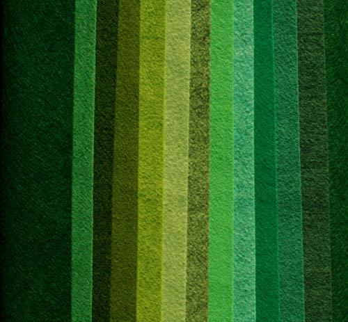 Wool Felt Blend, Merino Wool and Rayon, All Natural fibers, 9x12 inch, 12 Sheets (Greens)