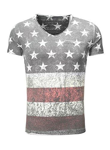KEY LARGO Hombres T-Shirt Born Vintage Busque USA Full Print América Delgado Fit Sección V-Cuello Endeble Impreso Printshirt Sommershirt