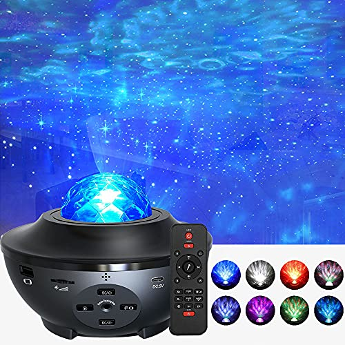 Foreita Music Night Light Projector - Star Light Projector with Remote Timer Music Speaker Different Lighting Show Adjustable Patterns Remote Control Light for Kids Babies