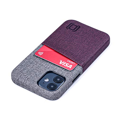 Dockem Luxe M2 Funda Cartera para iPhone 12 Mini: Funda Tarjetero Slim con Placa de Metal Integrada para Soporte Magnético: [Corinto y Gris]