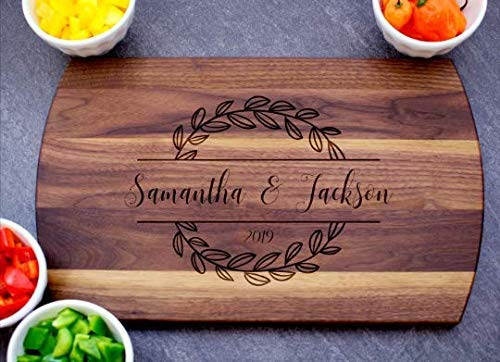 Personalized Cutting Board Laser Engraved Gift for Anniversary or Wedding Custom Charcuterie Board for Housewarming Maple Cherry or Walnut in Three sizes Unique Engagement Gift for Couple