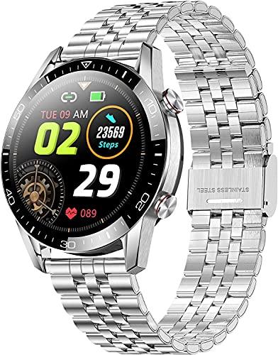 IP68 Reloj inteligente impermeable Monitor de ritmo cardíaco Bluetooth Llamada Mensaje Recordatorio Presión arterial Control de música Steería de acero inoxidable Rastreador Podómetro Sport Step Calor