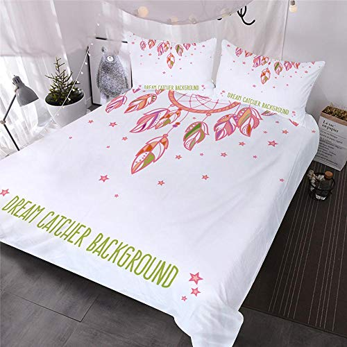 ZZAML 3D Duvet Cover Boho Pink Feathers Single Duvet Cover Double King Size,With Zipper Closure 220X260