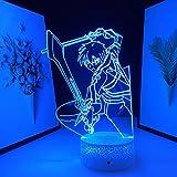 Luz noche 3D Lámpara ilusión mesa Led Base grietas Anime Sword Art Online Figura Kirito decorar la habitación Sala cumpleaños Manga Sao -16 colores con control remoto