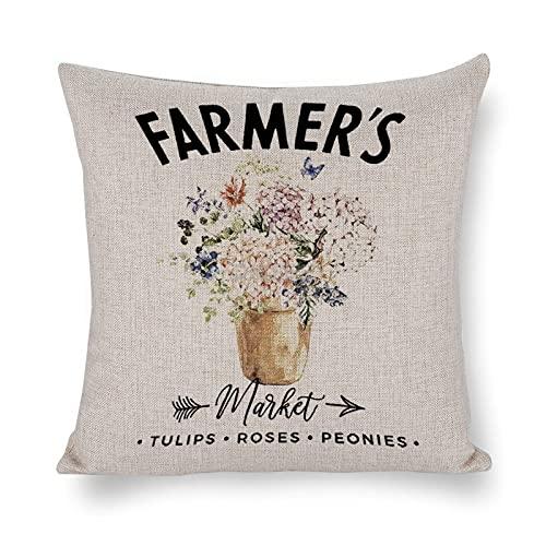 DKISEE Funda de almohada decorativa de Flower Market de 45 x 45 cm, funda de almohada con cremallera invisible, funda de almohada...