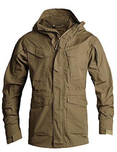 Flygo Men's M-65 Classic Field Jacket Tactical Lightweight Hooded Military Coat (X-Large, Khaki)