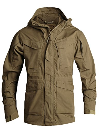 Flygo Men's M-65 Classic Field Jacket Tactical Lightweight Hooded Military Coat (Large, Khaki)
