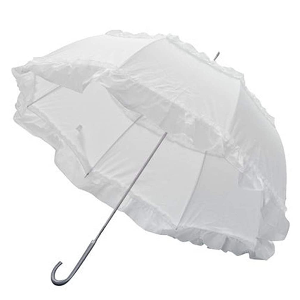 ジャズバン対応する[CAIXINGYI] 晴雨兼用 日傘 UVカット 2段フリル 折傘 折りたたみ日傘 遮光 遮熱 軽量 フリル付日傘 ドーム型 手開き 傘 ブラック 60cm×8本骨 ジャンプ傘 (白)