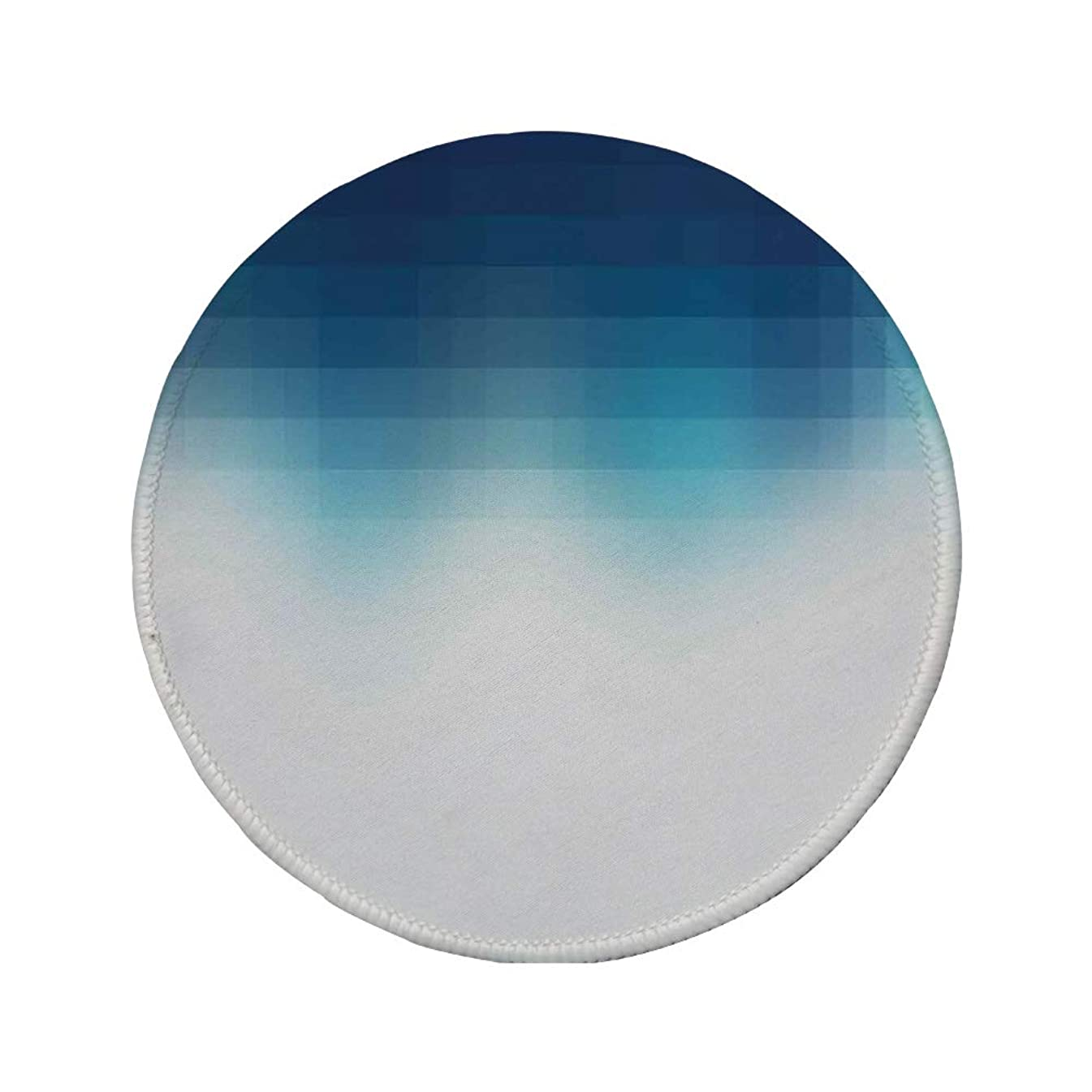Non-Slip Rubber Round Mouse Pad,Navy Blue Decor,Shaded Digital Square Grid Lined Edgy Mosaic Motifs Pixel Effects Artprint Home,Dark Blue White,11.8