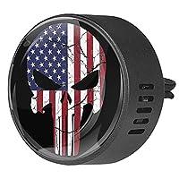 エッセンシャル オイル ベント クリップ用カー ディフューザー、アメリカの国旗の頭蓋骨 ,2 パック 40mm アロマセラピー芳香剤