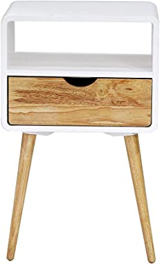 Heather Ann Creations Euro Collection Modern Accent Storage Cabinet, 1 Drawer/1 Shelf End Table, White