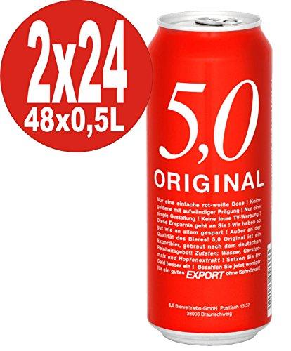 5.0 Original Export 2 x 24x0,5L Dosen 5,2% Vol Günstiges Dosenbier EINWEG